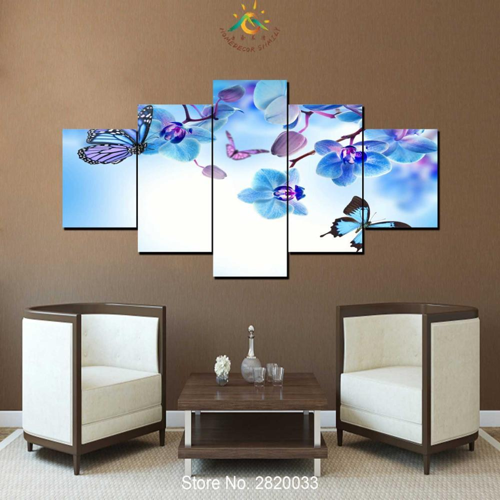 Framed 5 Piece Orchid Flower Butterfly Canvas Wall Art Sets - It Make Your Day