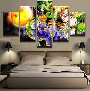 Framed 5 Piece Cartoon Anime Dragon Ball 11 Canvas Wall Art Painting - It Make Your Day