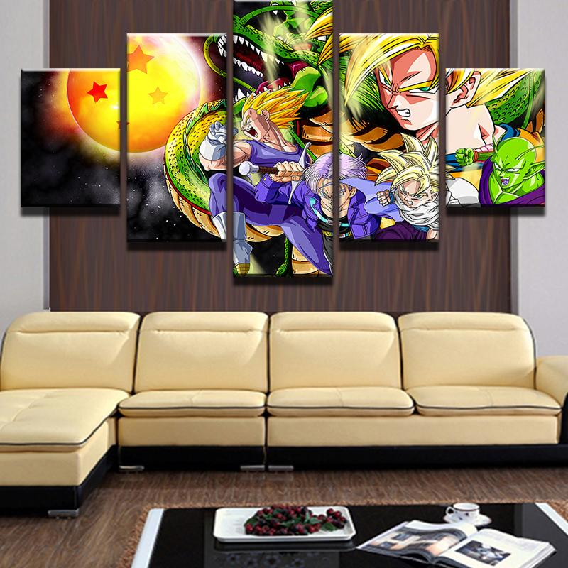 Framed 5 Piece Cartoon Anime Dragon Ball 11 Canvas Art Paintings ...