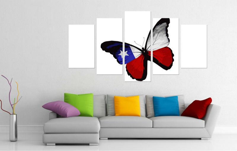 Framed 5 Piece American Flag Butterfly Canvas Wall Art Sets - It Make Your Day
