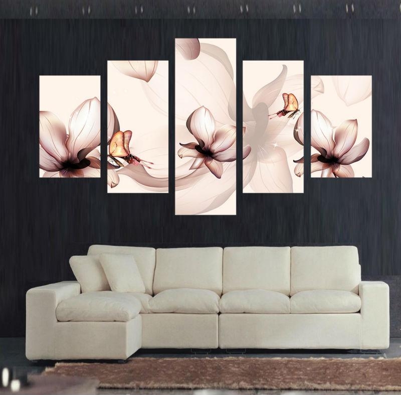 Framed 5 Piece Butterfly Orchid Flower Canvas Wall Art Sets   It Make Your  Day