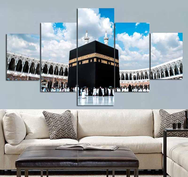 5 Piece Islamic Muslim Islam Hajj Round View Canvas Wall Art Paintings - It Make Your Day