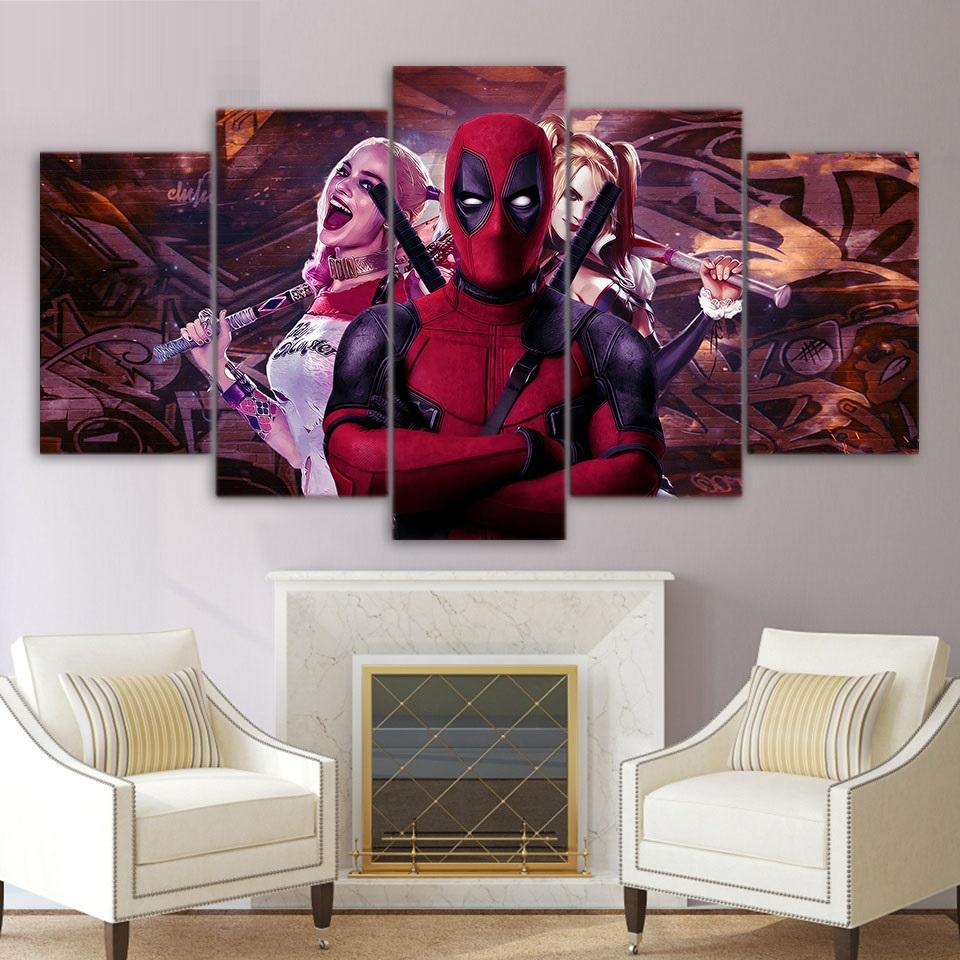 5 Piece Deadpool and Harley Quin Movie Canvas Wall Art Paintings Sets - It Make Your Day