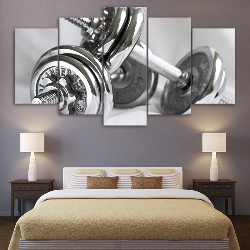 5 Piece Gym Dumbells Fitness Equipment Canvas Wall Art Paintings - It Make Your Day