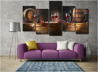 5 Pieces Red Wine Grapes Cask Canvas Wall Art - It Make Your Day