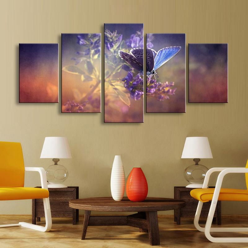 Framed 5 piece butterfly flowers canvas wall art sets it make your day