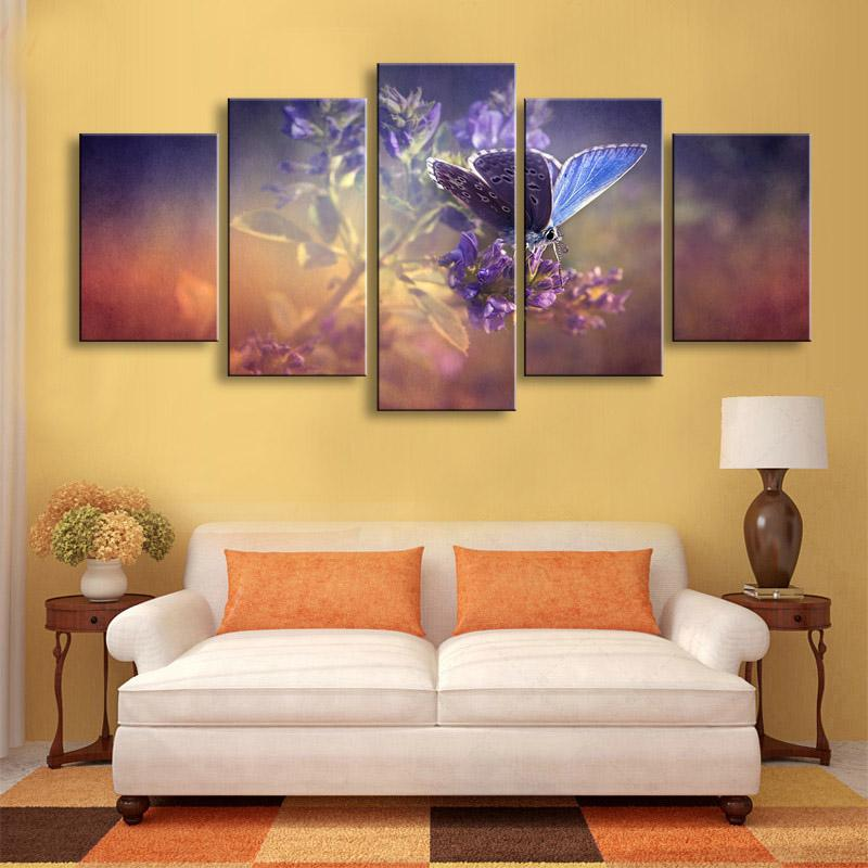 Framed 5 Piece Butterfly Flowers Canvas Wall Art Sets - It Make Your Day