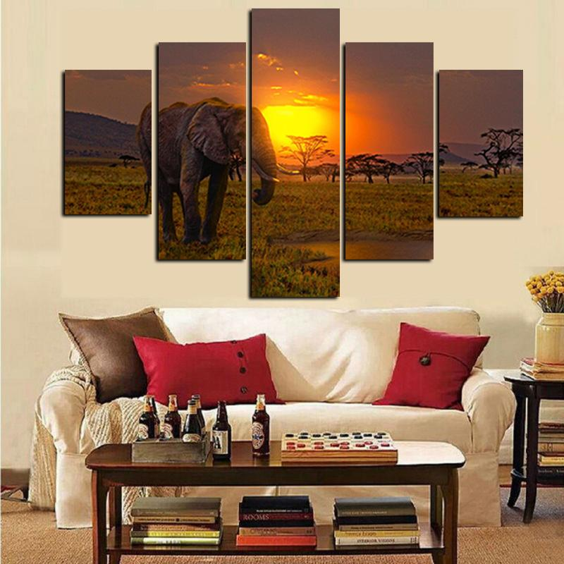 African Elephant Under Sunset Landscape - It Make Your Day