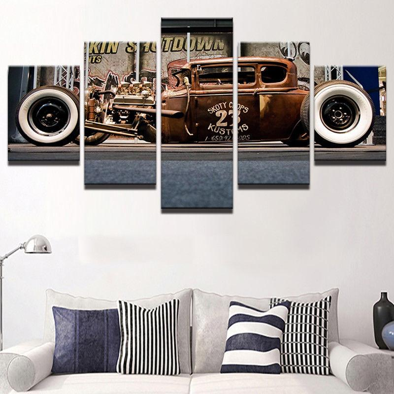 5 Pieces Old Vintage Hot Rod Car Boys Canvas - It Make Your Day & 5 Piece Old Vintage Hot Rod Car Boys Canvas Wall Art Paintings Sale ...