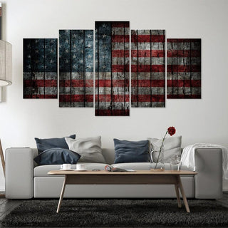 5 Panel Abstract American Flag Canvas Painting Wall Art - It Make Your Day