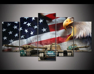 5 Panel American Eagle Flag With Tank Canvas Painting Wall Art - It Make Your Day