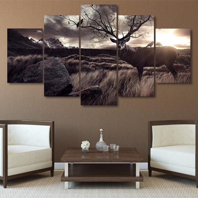 5 Pieces Deer Beautiful Sky Canvas - It Make Your Day