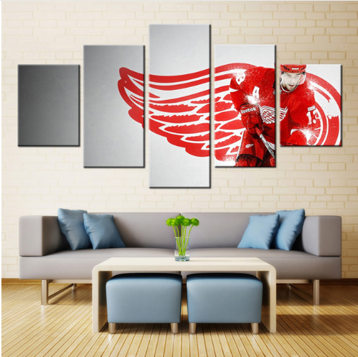 5 Piece Detroit Red Wings 7 Hockey Canvas - It Make Your Day