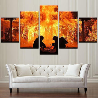 5 Piece Duo Firefighter Canvas Wall Art Paintings - It Make Your Day