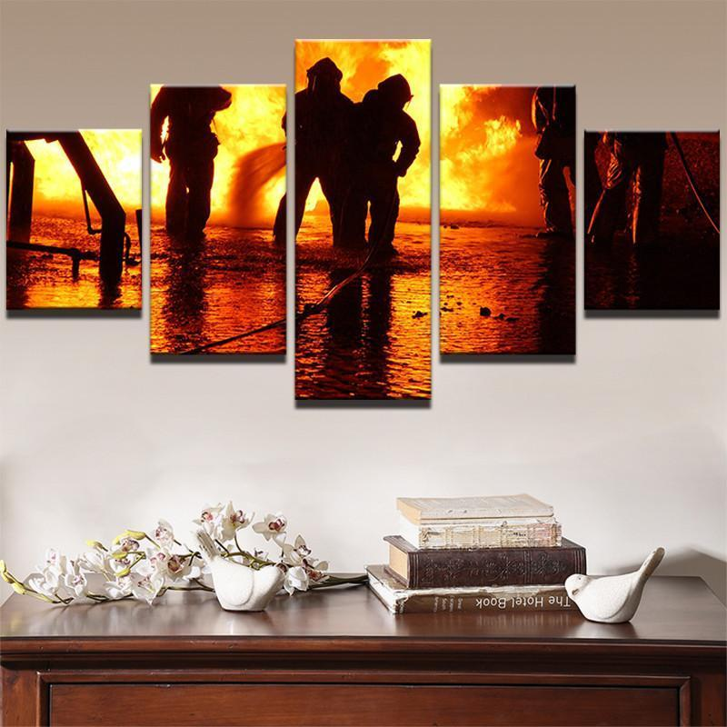 5 Piece Firefighter Defeat Fire Canvas Wall Art Paintings - It Make Your Day