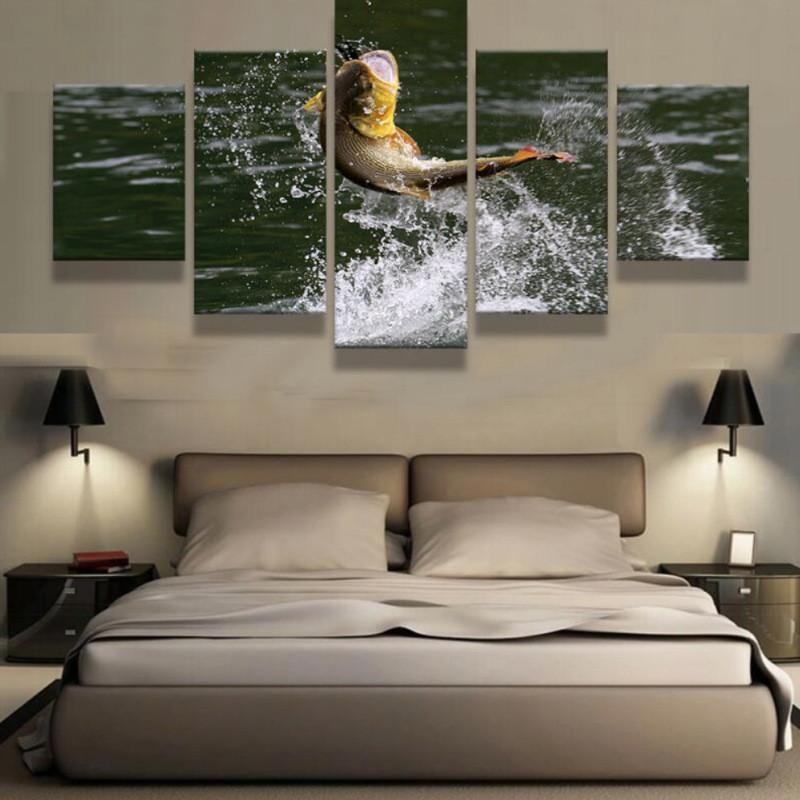5 Panel Fish Out of the Water Canvas Painting Wall Art - It Make Your Day