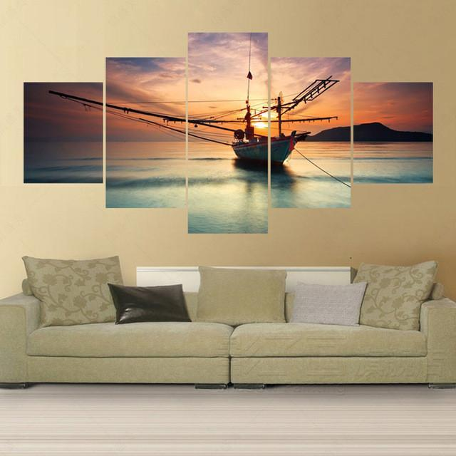 5 Panel Fishing Boat Returning To Lake Canvas Painting Wall Art - It Make Your Day