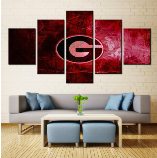 5 Piece Georgia Bulldogs Football Team Canvas Wall Art - It Make Your Day
