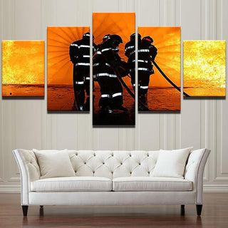 5 Piece Into The Fire Firefighter Canvas Wall Art Paintings - It Make Your Day