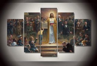 "5 Panel ""Jesus Returns to Earth"" Canvas Painting Wall Art - It Make Your Day"