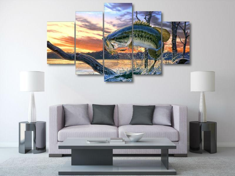 5 Panel Jumping Fish Canvas Painting Wall Art - It Make Your Day