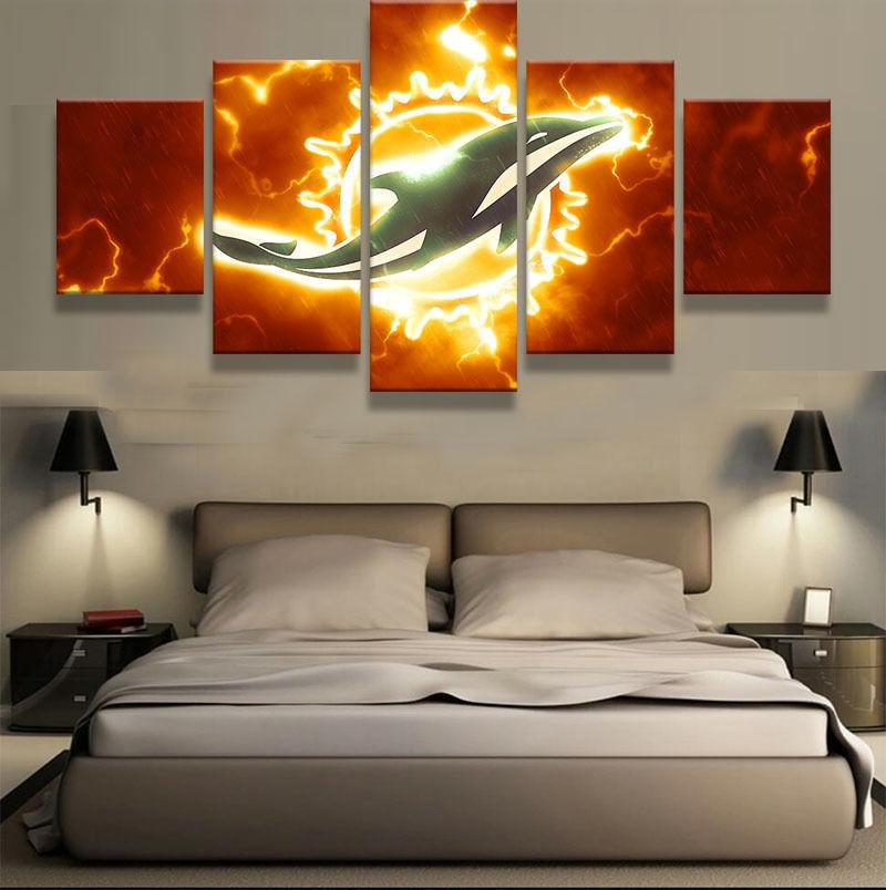 5 Panel Miami Dolphin Football Canvas Paintings - It Make Your Day