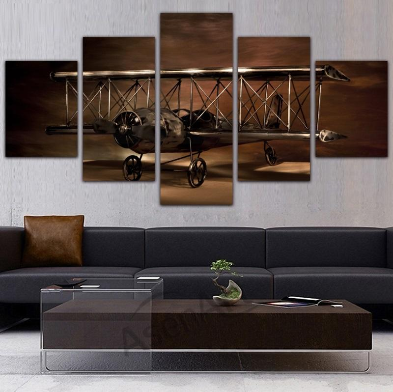 5 Piece Airplane Aircraft Model Biplane Canvas Painting - It Make Your Day