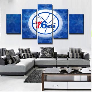 5 Piece Philadelphia 76ers Wall Decor Canvas Paintings - It Make Your Day