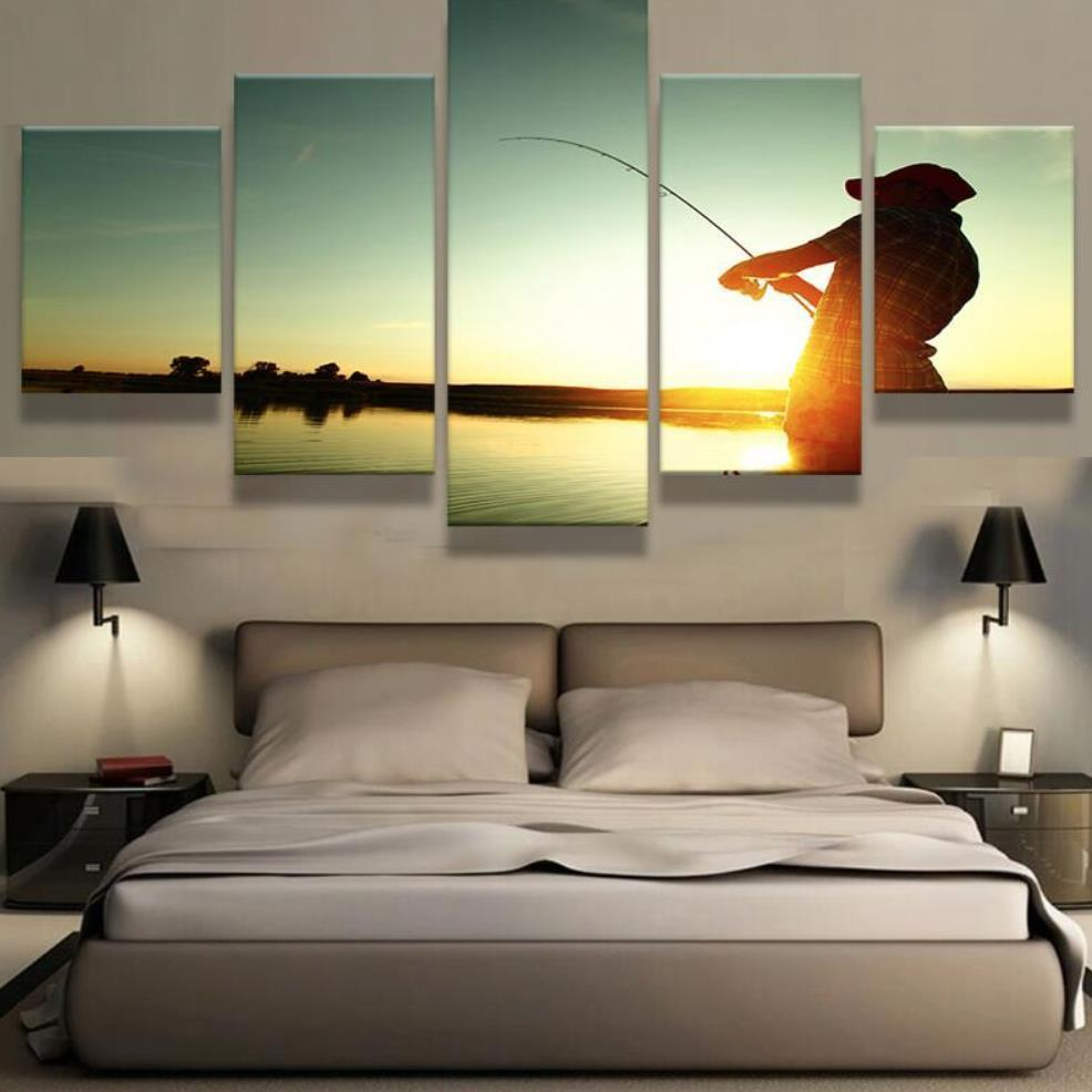 5 Panel Relax And Fish Canvas Painting Wall Art - It Make Your Day
