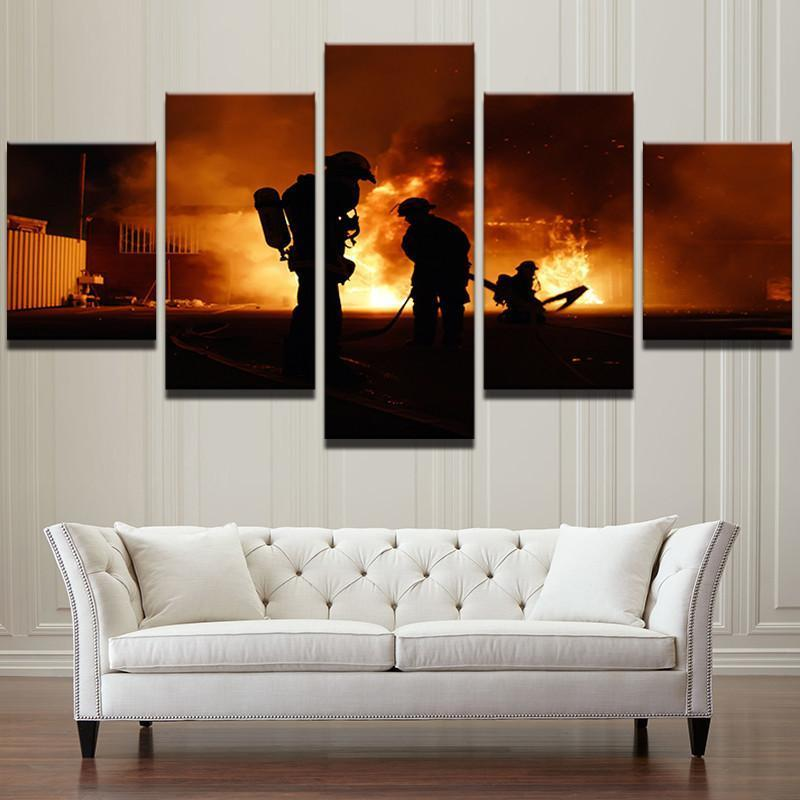 5 Piece Firefighter HD Prints Canvas Wall Art Paintings - It Make Your Day