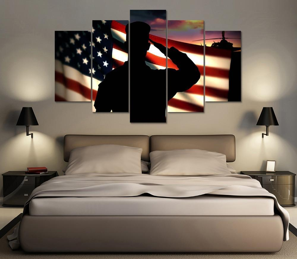 5 Panel Salute American Canvas Painting Wall Art - It Make Your Day