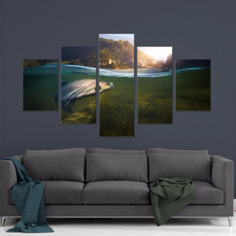 5 Panel Sunlight River Sea Fishing Canvas Painting Wall Art - It Make Your Day