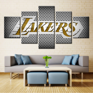 5 Piece Los Angeles Lakers Canvas Print Wall Art - It Make Your Day