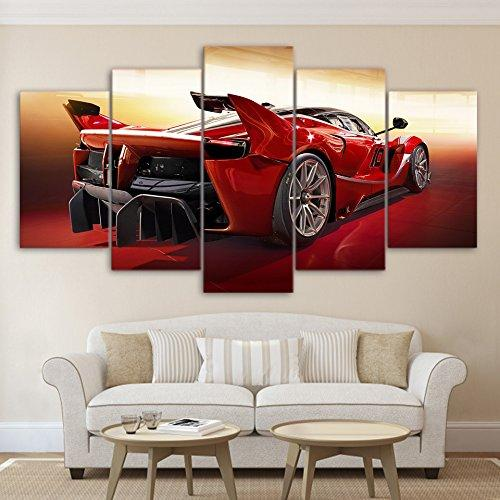 5 Piece Wall Decor Red Cool Sport Car Canvas Paintings - It Make Your Day