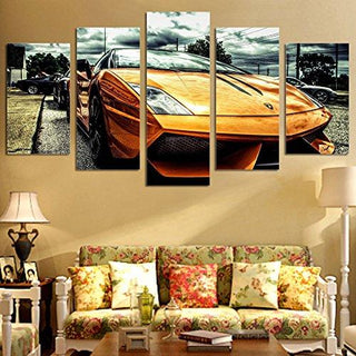 5 Piece Yellow Car Canvas Paintings - It Make Your Day