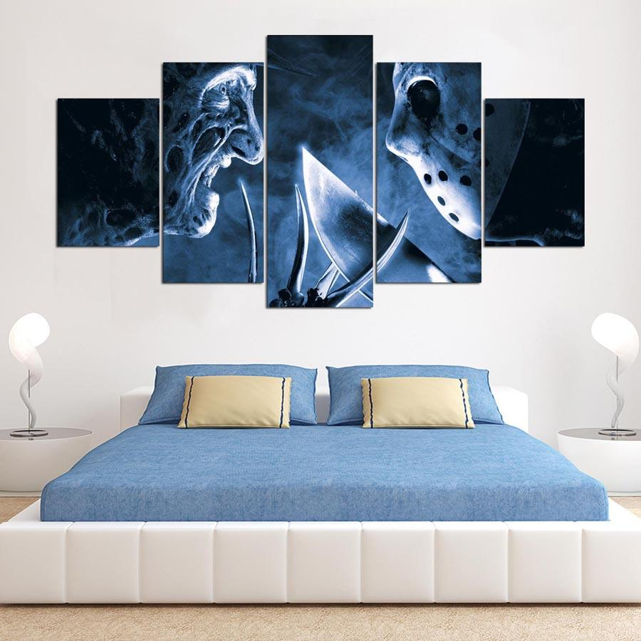5 Piece Friday The 13Th Freddy Vs Jason Canvas Paintings - It Make Your Day