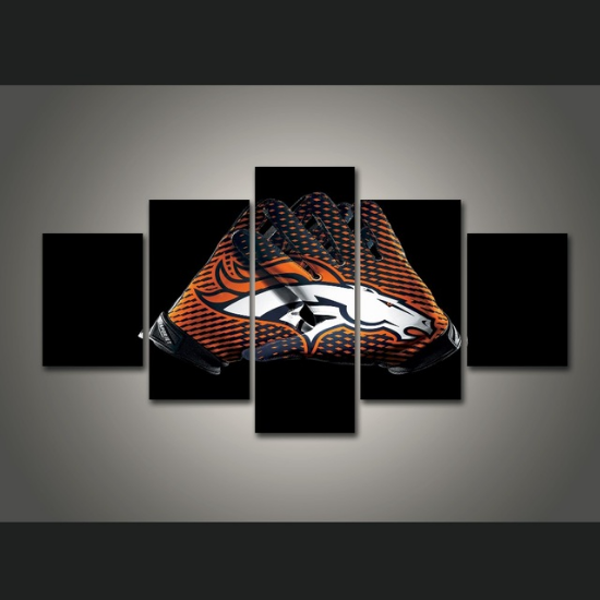 5 Piece Denver Broncos Gloves Art Canvas Paintings - It Make Your Day