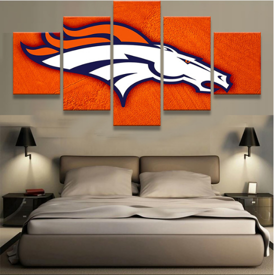 5 Piece Denver Broncos Logo Art Canvas Paintings - It Make Your Day