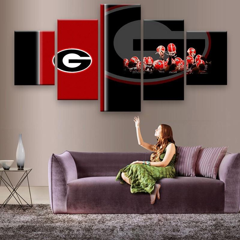 5 Piece Georgia Bulldogs Sports Team Canvas - It Make Your Day