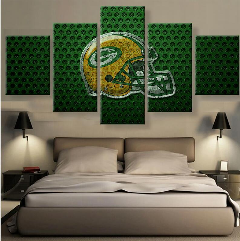 5 Piece Green Bay Packers Helmet Prints Canvas Paintings - It Make Your Day