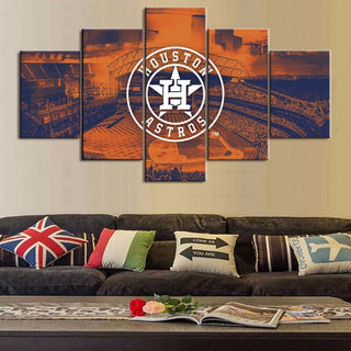 5 Piece Houston Astros Baseball Wall Art Canvas Paintings - It Make Your Day