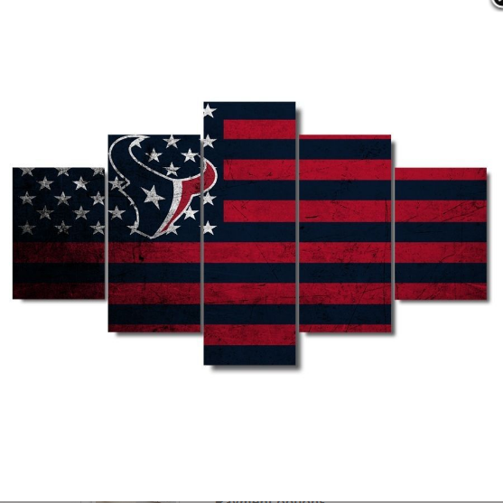 5 Piece Houston Texans USA Flag Wall Art Canvas Paintings - It Make Your Day