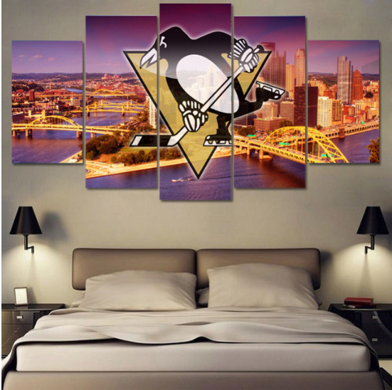 5 Piece Pittsburgh Penguins 6 Hockey Canvas Paintings - It Make Your Day