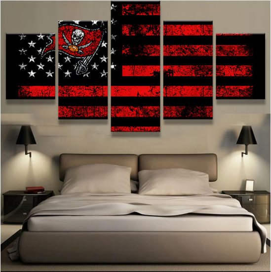 5 Piece Tampa Bay Buccaneers Wall Art Canvas Paintings - It Make Your Day