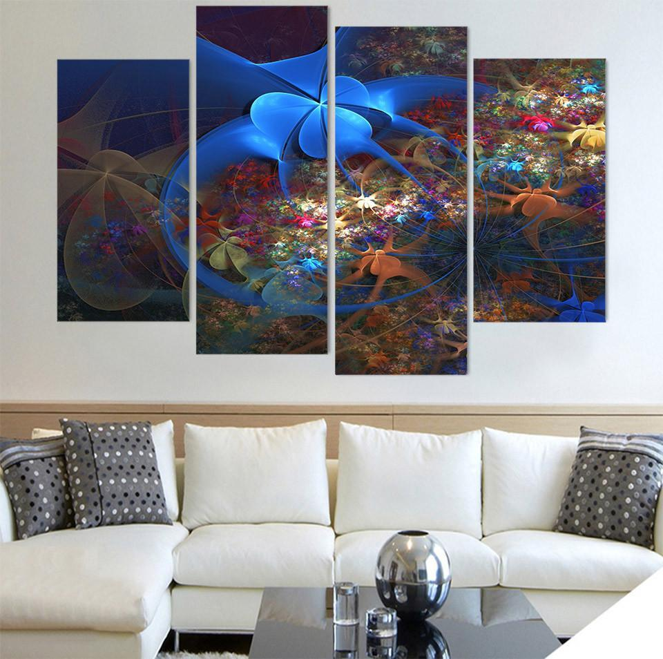 4 Piece Abstract Art Pattern Canvas Painting Wall Art - It Make Your Day