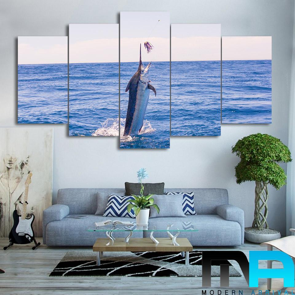 5 Piece Amazing Blue Fish To Catch Canvas Wall Art Sets - It Make Your Day
