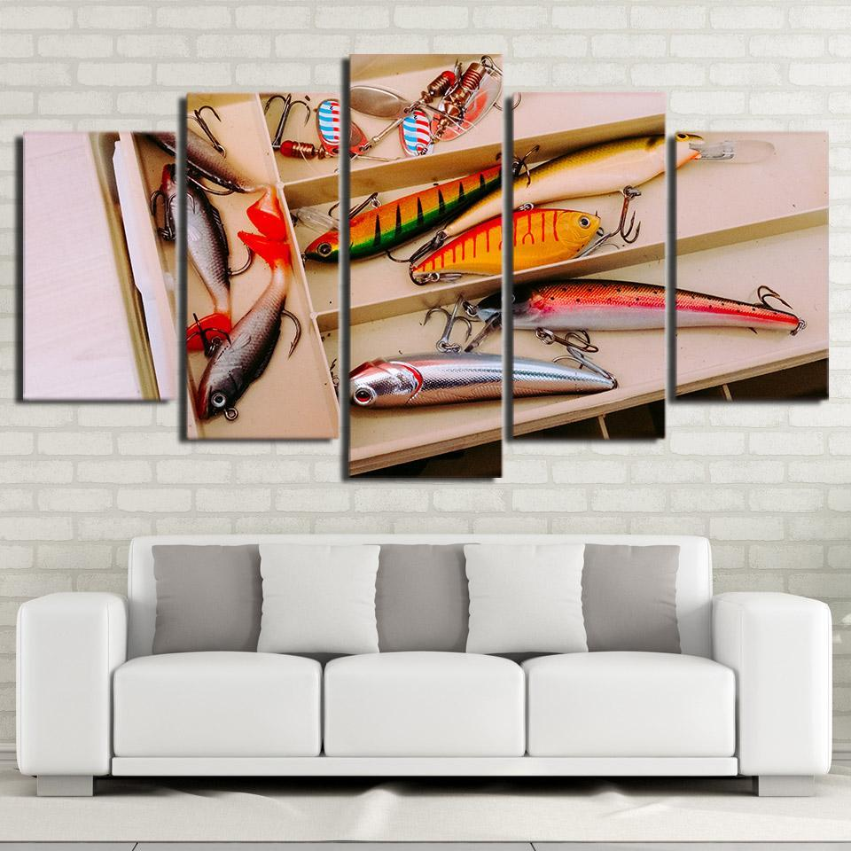 5 Piece Artistic Fishing Hooks Canvas Wall Art Paintings - It Make Your Day