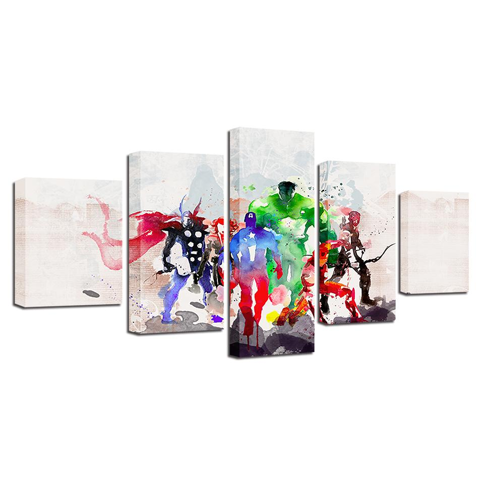 5 Piece Avengers Movie Watercolor Canvas Wall Art Paintings Sets - It Make Your Day
