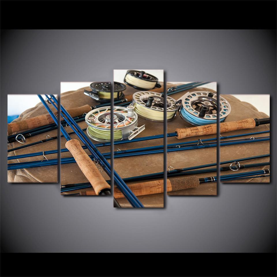 5 Piece Awesome Fishing Tools Canvas Wall Art Paintings - It Make Your Day