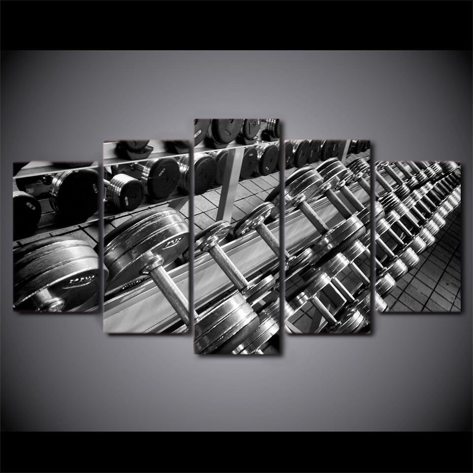 5 Piece Dumbbell Print Canvas Wall Art Paintings - It Make Your Day